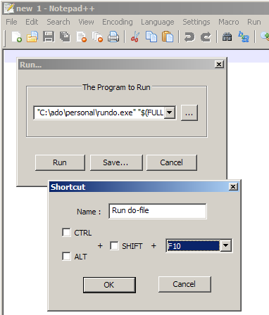 Notepad++ dialog to add the rundo program