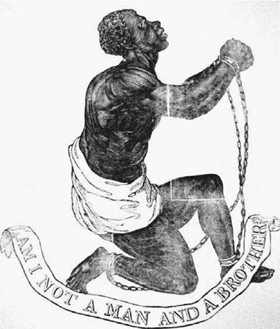 British Abolitionist Emblem. This image of a kneeling slave in shackles became the familiar emblem of the abolitionist movement in England. The first versions of the design appeared in the 1780s.