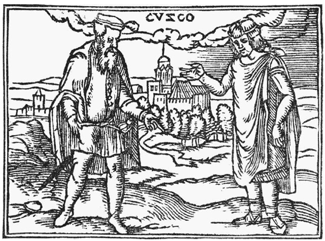 Pizarro and the Inca. An undated woodcut depicts a meeting between Francisco Pizarro and the leader of the Incas. Spanish rule in Peru was consolidated in 1533 with the execution of the reigning Inca monarch.