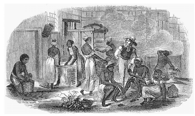 Plantation Slaves in Brazil. Household slaves working on a Brazilian plantation are engaged in domestic chores in this mid-nineteenth-century engraving.