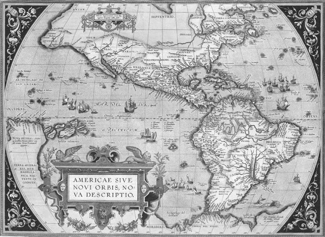Cartography in the colonial americas orteliuss map of the new world this early map of north and south america gumiabroncs Gallery