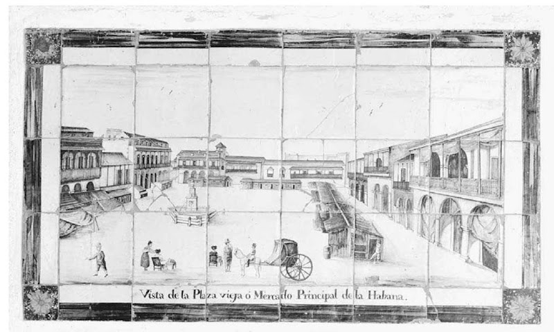 Seventeenth-Century Tilework in the Casa de Obrapia, Havana, Cuba. Tilework depicts of a visit to the Plaza Vieja in Havana, Cuba.