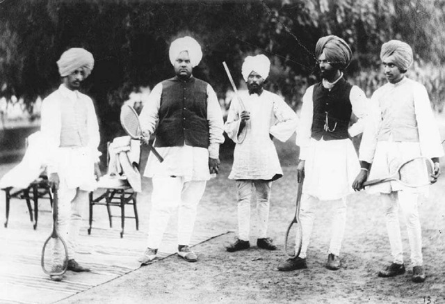 Indian Tennis Party. A group of Indian men meet to enjoy tennis, a game imported by the British, at Kapurthala during the British colonial period.