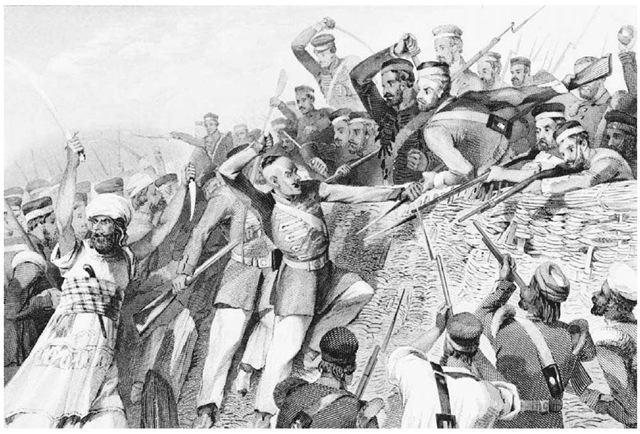 The Battle of Lucknow. Indian sepoys engage British troops in 1857 at Lucknow, where some of the most intense fghting of the Indian Revolt occurred.