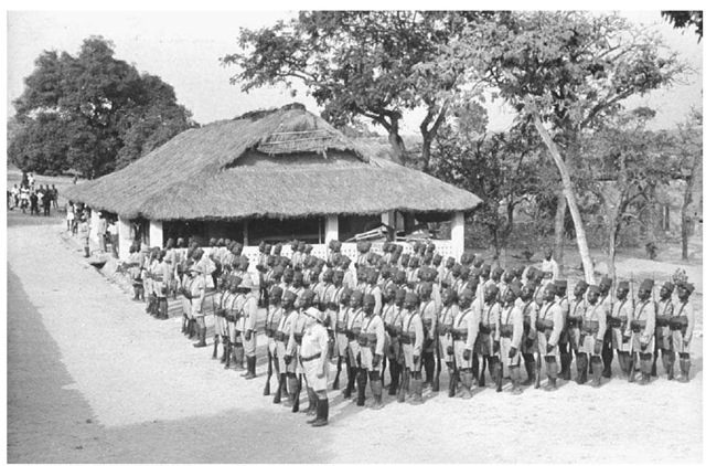 African Troops in the French Colonial Army. African soldiers, in training for duty in World War II as part of the French colonial army, stand in formation in 1941 in the Central African Republic, then a colony of France.