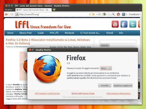 Firefox 5.0 Beta su Ubuntu