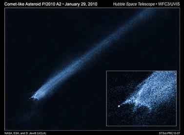 P/2010 A2, com cauda que pode ser resultado de colisão (Foto: NASA, ESA, D. Jewitt (Universidade da Califórnia, Los Angeles))