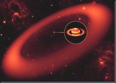 Concepção artística do anel gigante em torno de Saturno; planeta empliado no detalhe (Foto: NASA/JPL-Caltech/Keck)