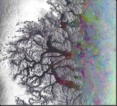 Nova imagem do Envisat mostrando a acidentada costa oriental da Groelândia (Foto: ESA)
