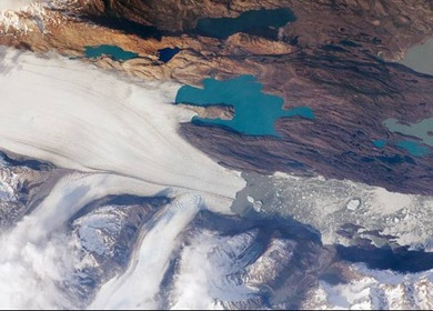 Glaciar Upsala fotografado em 25 de outubro por astronautas na ISS (Foto: ISS/NASA)