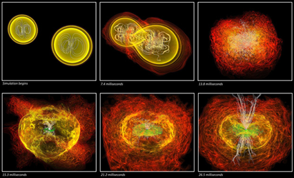 Simulação da colisão de estrelas de nêutrons e da emissão de raios gama em etapas (Foto: NASA/AEI/ZIB/M. Koppitz e L. Rezzolla)
