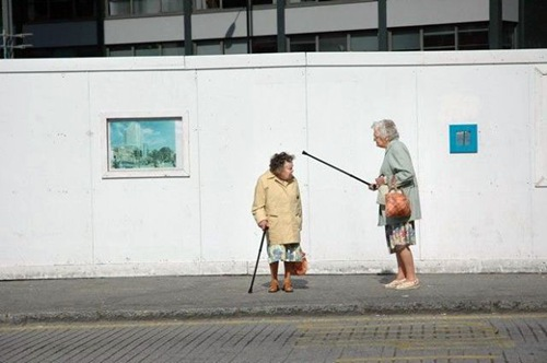 two old ladies in the street