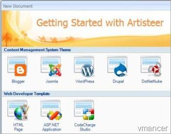 artisteer-making blogger template-vmancer