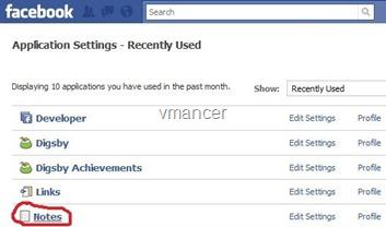 application setting-facebook-notes-vmancer
