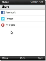 opera mini 6 for symbian - share to facebook, twitter, my opera