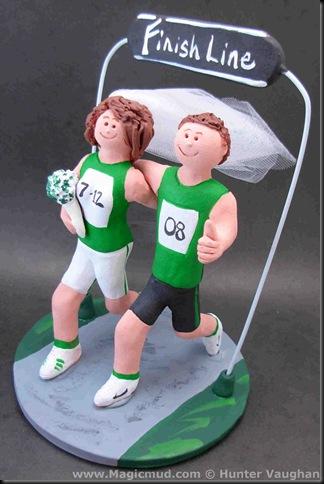 Marathon Runners Wedding Cake Topper
