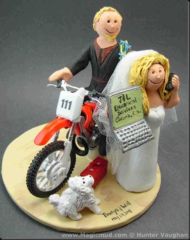 custom wedding cake toppers: Honda Dirt Bike Wedding Cake Topper