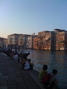 Walking along the Grand Canal in Venice, Italy