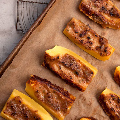 Broiled Spaghetti Squash with Walnut-Miso Glaze