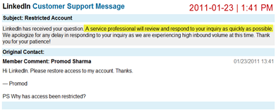 Contacting LinkedIn customer service