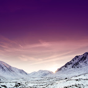 Sunset Over Glen Etive by Jackson Visser - Landscapes Sunsets & Sunrises ( scotland, mountains, glencoe, pink sky, sunset, snow, glen etive )