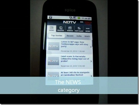 NDTV App Review - Categories