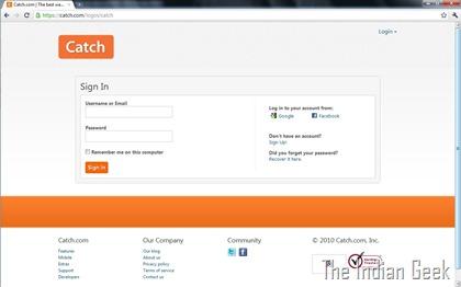 Catch website - Login