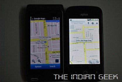Nokia N8 and Spice Mi-300 - Comparison, Google Maps