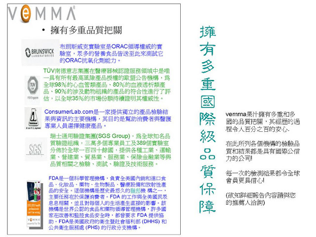 VEMMA擁有多重國際級的品質保障。