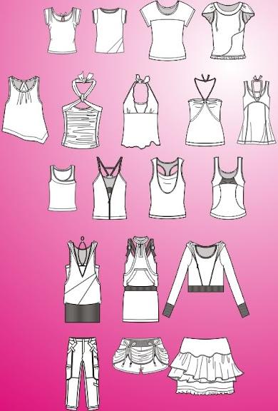 Templetes Femininos em Corel Draw - Camisetas, camisas, vestidos, tops, jaqueta, calça, bermuda e saia