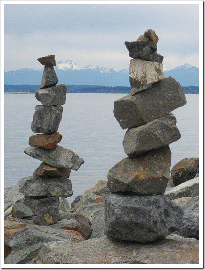 Rock stacks on Elliott Bay