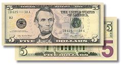 Redesigned $5 bill