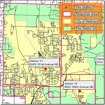 Redmond fire response area map: Fire Station 11