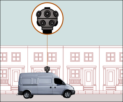Google Street View: multiple-lens camera mounted on vehicle