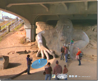 Bing Maps: Streetside view of the Fremont Troll