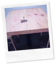 Wheelie on Wood Table