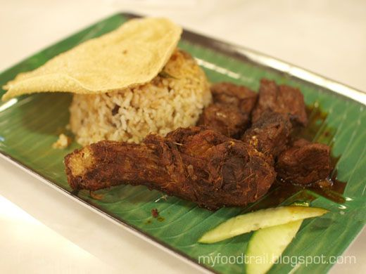 Nasi kandar: briyani rice with ayam goreng & daging masak kicap