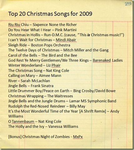 Christmas Songs for 2009