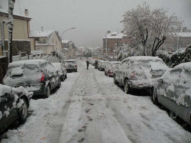 Nevada el 8 de mar&ccedil; de 2010. Carrer Alberes nevat, amb l'Avinguda Catalunya al fons. <b>Autor: Albert A.</b>