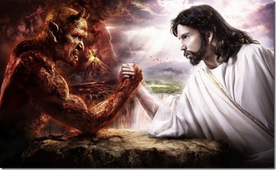 jesus arm-wrestling with satan demon