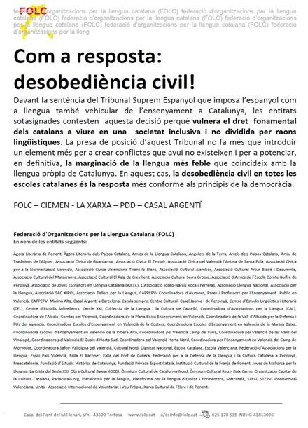 comunicat collectiu responsa al Tribunal Constitucional espanhòl