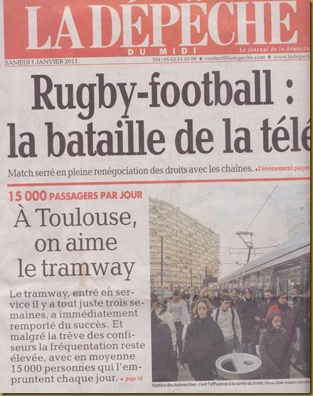 tram a Tolosa e portada de la DDM