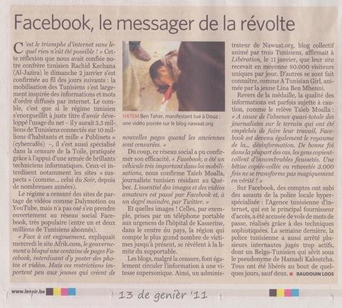 Facebook e la revolucion jasmina LeSoir 130111