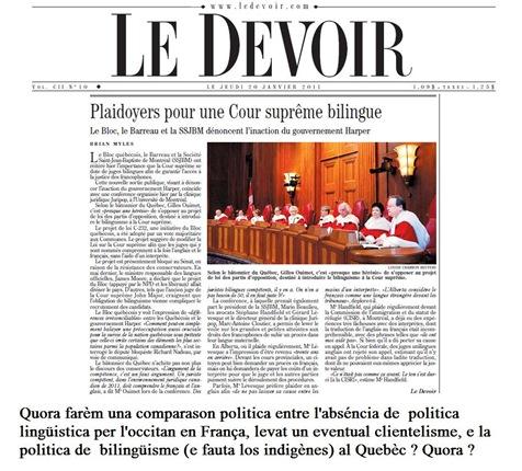 cors suprèma bilingüa LeDevoir 200111