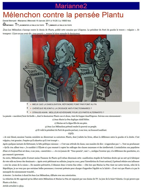 Mélenchon contra Plantu per un dessenh d'actualitat Marianne2 190111