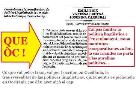 lo punt 6 de la letra duberta a la directora de la Politica Lingüistica de la Generalitat de Catalunya