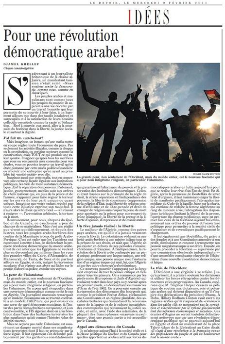 révolution démocratique arabe leDevoir 090211