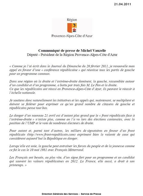 Comunicat Michel Vauzelle la gauche en 2012