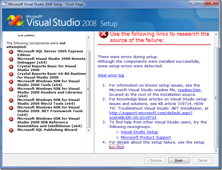 Visual Studio 2008 installer, showing an error on every component