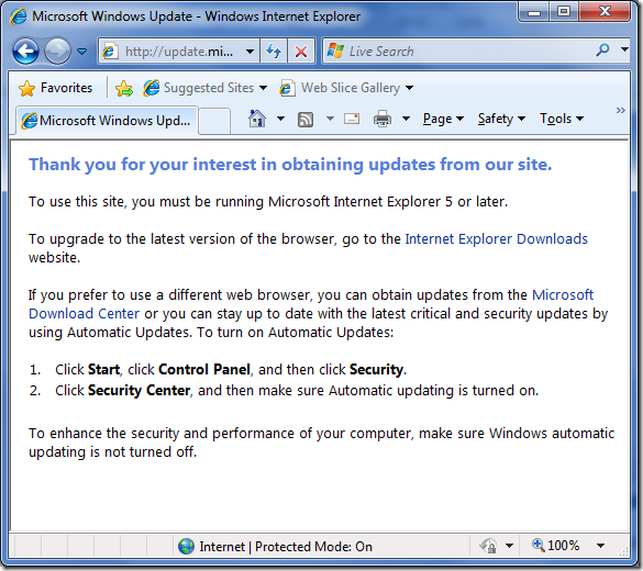 The latest IE showing a Windows Update message asking to visit the site using the latest IE